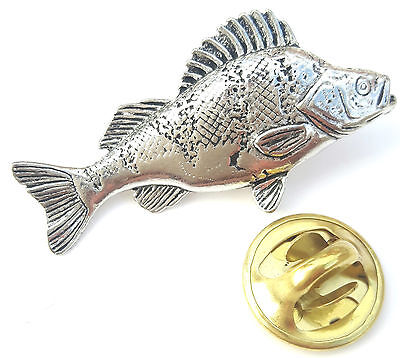 Large Perch Fish Handcrafted from English Pewter in the UK Lapel Pin Badge