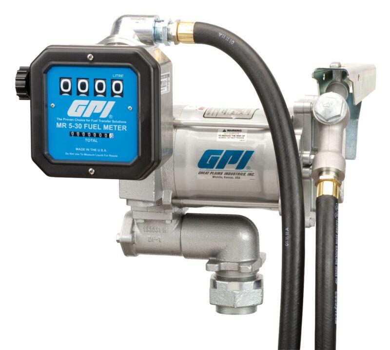 "GPI 20 GPM Fuel Transfer Pump AC 115V, 3/4"" Nozzle Hose Mechanical Meter Combo"