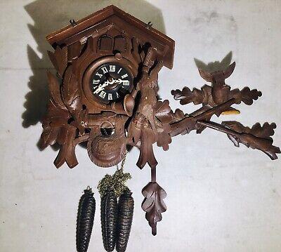 Vintage German Black Forest Cuckoo Clock E. Schmeckenbecher Hand Carved