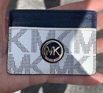 **MK** Michael Kors Card Holder / Wallet / EX Cond. Navy Blue / Off White
