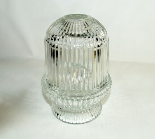 """MCM HOMCO Clear Glass Fairy Lamp Ribbed Candle Tea Light Votive Holder 6.5"""""""
