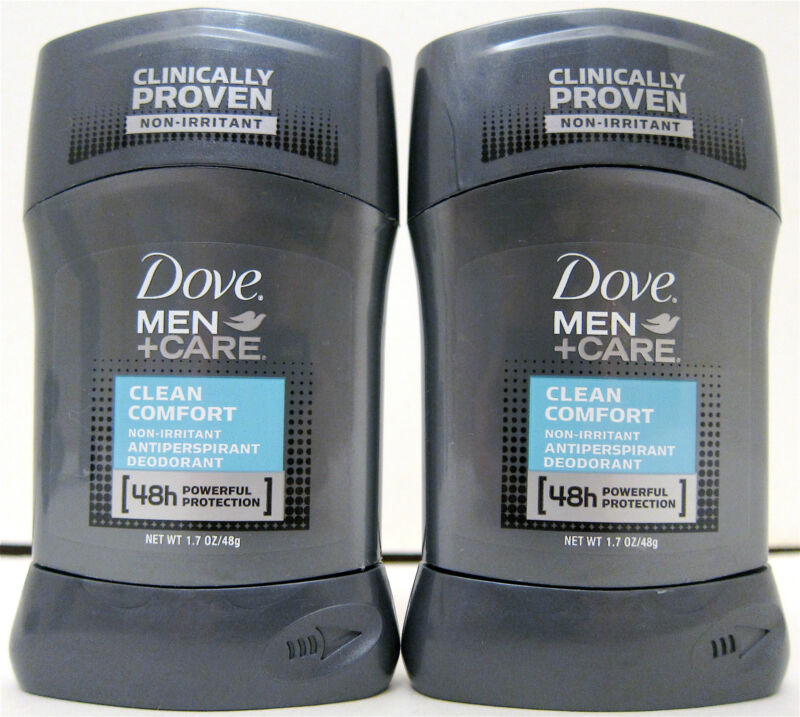 Lot of 2 Dove Men +Care Clean Comfort Antiperspirant Deodorant 1.7 oz
