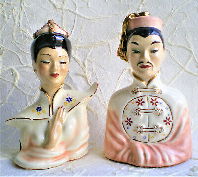 VINTAGE PAIR MURIEL OF CALIFORNIA ASIAN MALE AND FEMALE BUSTS W/ ORIG. LABELS