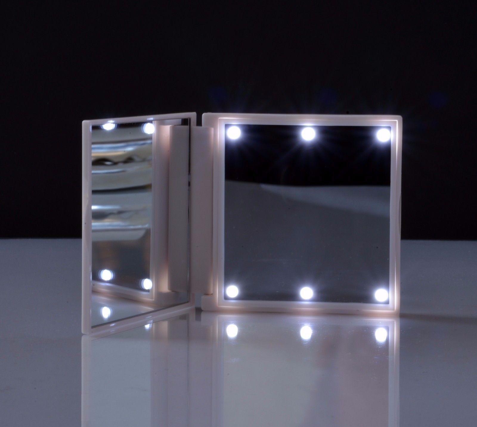 Schminkspiegel beleuchtet Reise Spiegel FLO LED Taschenspiegel weiß weiss 44882