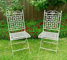 A Pair of Metal Folding Chair / Garden Patio Seats Singleton Singleton Area Preview