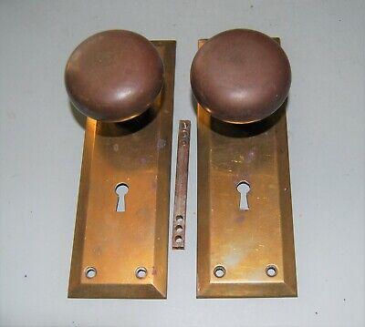 Pair of Vintage Steel Door Knobs, lock, and face plates.