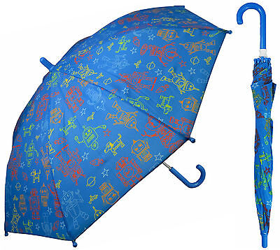 "32"" Child Kid Blue Robot Space Umbrella - RainStoppers Rain/Sun UV Cute"