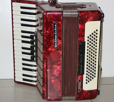 Rare Accordion Piano Weltmeister Stella 3/4 Red made Germany Accordeon Acordeon , usado segunda mano  Embacar hacia Argentina