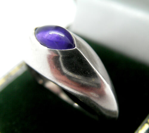 QUALITY MODERNIST AMETHYST SILVER 925 SIGNED FULLY HALLMARKED RING  N  6.75
