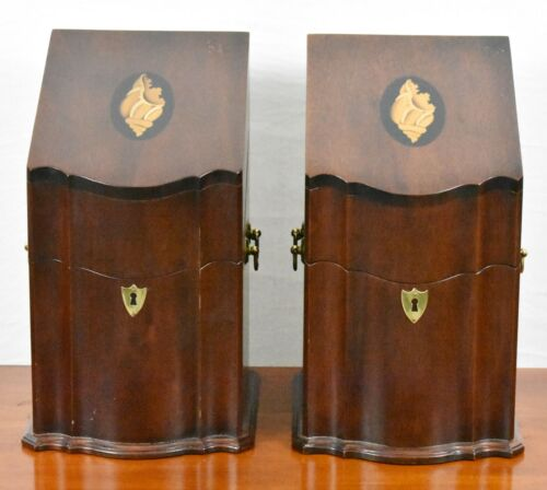Pair of Mahogany Knife Boxes with Shell Inlays attributed to Kittinger