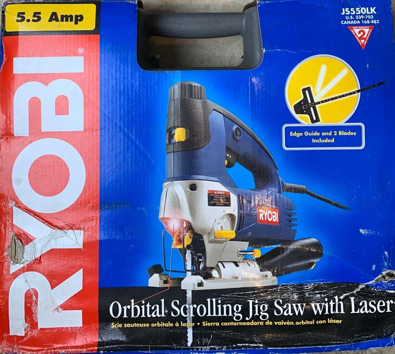 NEW RYOBI JS550LK Orbital-Scrolling Jig Saw with Laser Kit