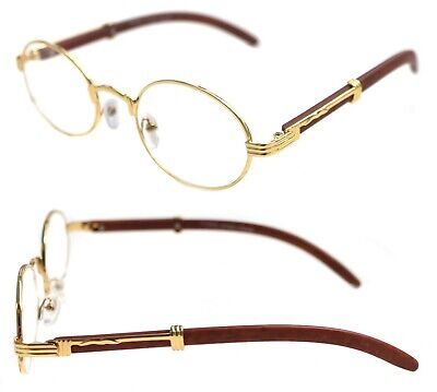 Men's Womens Round Eye Glasses Quavo Bad and Boujee Hip Hop Brown Wood (Brown Round Glasses)