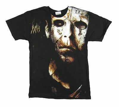 Halloween 2 All Over Mask Print H2 Black T Shirt New Official Movie Rob Zombie