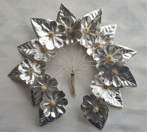 Made by the Nuns Vin. Paper Millinery Flowers Silver Foil Nubby Centers French