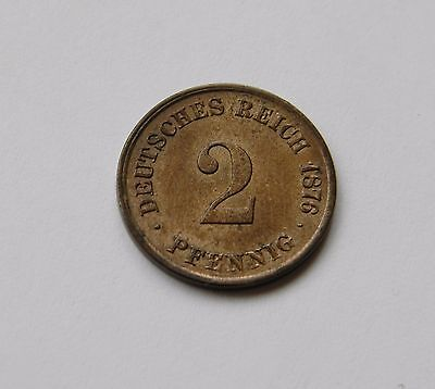 KAISERREICH: 2 Pfennig 1876 C, J. 2, stempelglanz, TOLLER PRÄGEGLANZ !!!