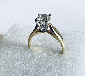 Lady's 18kt. Yellow Gold & Platinum Solitaire Engagement Ring