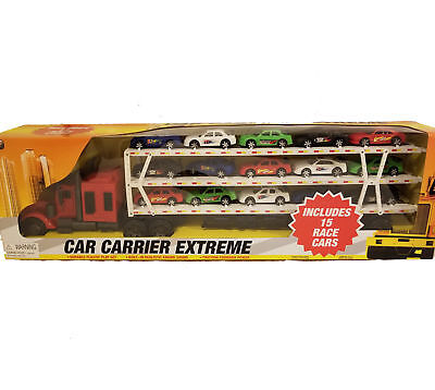 NEW Car Carrier Extreme Toy Cars Play Set ~ Tow Truck and 15 Race Cars ~ Ages 4+ (Extreme Car Race)