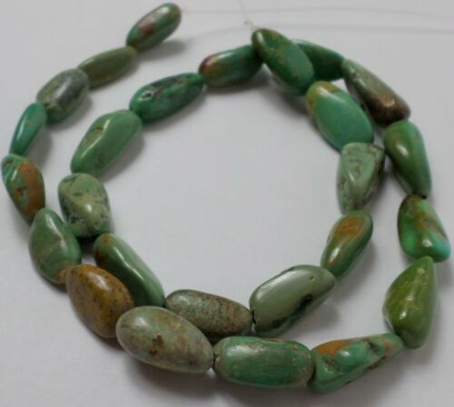 """16"""" Strand Green Blue Royston Turquoise Medium Nugget Beads 10-17 mm Old Stock"""