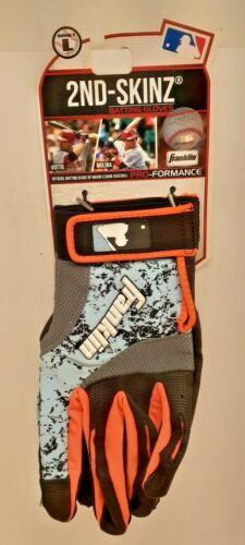 Franklin 2nd-Skinz Baseball Batting Glove Adult Size Large Orange/Light Blue