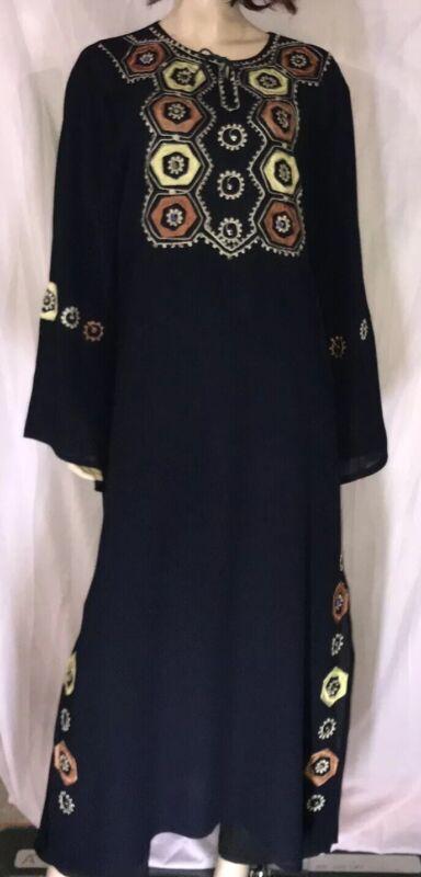 EC XL 2 layers crepe navy blue yellow abaya & scarf hijab jilbab dress Islam EID