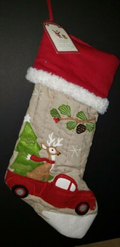 Pottery Barn Kids Christmas Woodland Stocking Truck with Reindeer Brand NWT