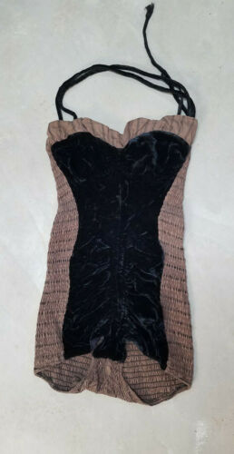 VTG*1950* Cole of California* silk velvet/ruched  swimsuit* size M/ L* Pinup*