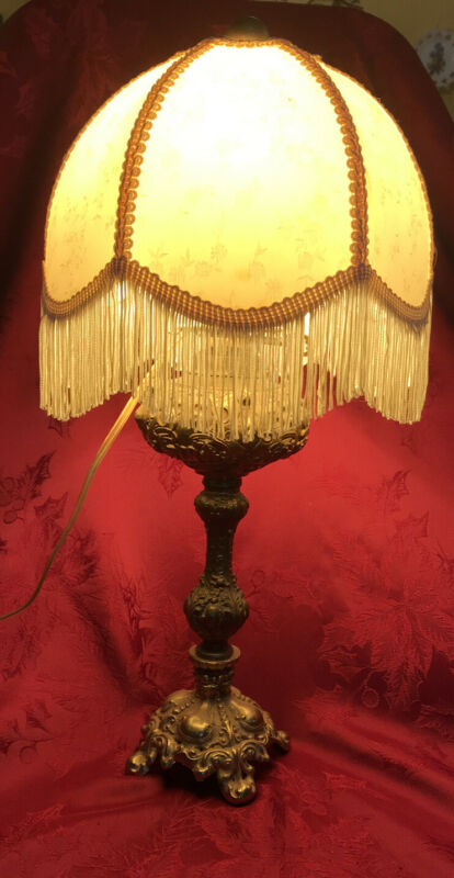 Antique Ornate Brass Base Lamp Electrified Witb Satin Brocade Shade W/ Fringe
