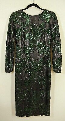 New Dress The Population Emery Two Tone Sequin Sheath Dress In Green Black   Xl
