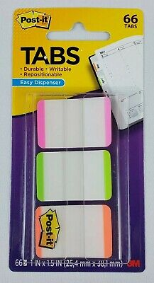 Post-it Tabs 1 X 1.5 66 Tabs Orange Pink Green Color New