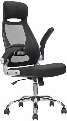 Executive High Back Mesh Office Desk Chair Support Flip Up Armrest Home Work