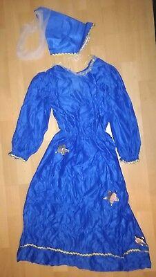 Hübsches Prinzessinnenkleid Mädchen Kostüm Karneval Gr.128 Blau + Hut