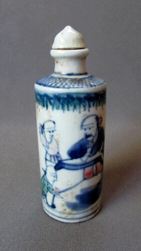 ANTIQUE Chinese KANGXI Hand Painted Porcelain SNUFF BOTTLE