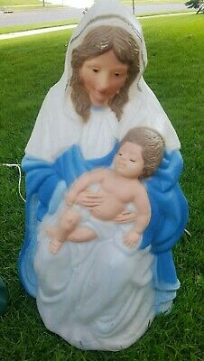 "Vintage 27"" Mary Holding Baby Jesus Kneeling Nativity Christmas Blow Mold Yard"