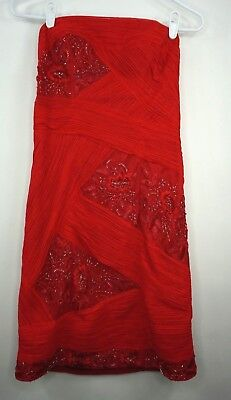 (SUE WONG Designer Red Beaded Sequin Cocktail Dress Size 6)