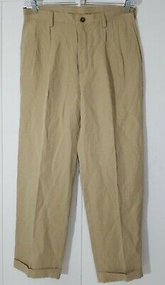 Nautica Rigger Double Pleated Classic Fit Pants Khaki 33 x 30 Silk Blend New $98