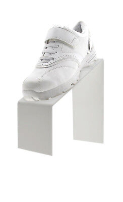 White Slanted Acrylic Shoe Riser W Heel Stop Display Stand 9l X 4w X 9h