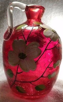Cranberry Crackle Glass Jug - Vintage - Hand-painted - Signed by E. Cantrell