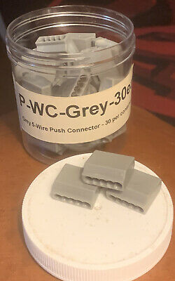 30 Push In Electrical Grey 5-port Wire Connectors 12-20 Gage Awg 300v Rated