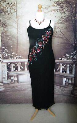 Monsoon Dress/Ballgown 14 Silk Chiffon Evening Cocktail Party Beads Sequin Black