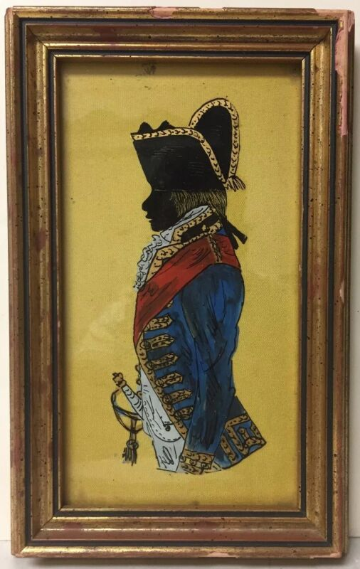 ANTIQUE REVERSE PAINTED ON GLASS SILHOUETTE GEORGE WASHINGTON FRAMED PICTURE