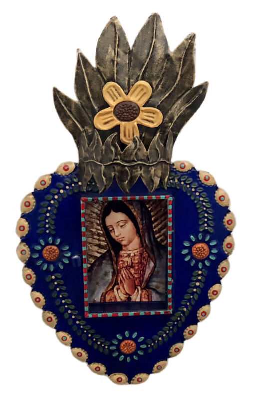 Blue SACRED HEART FRAME, Punched Tin Heart VIRGIN GUADALUPE Nicho LG 14""