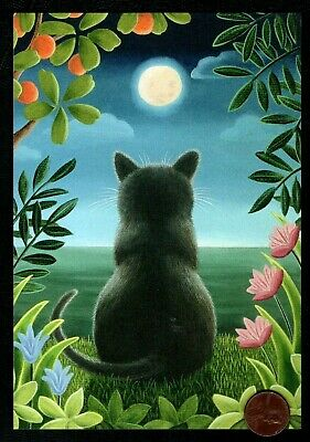 Black Cat Kitten Moon Tropical Flowers Water - Large Blank Greeting Note Card - Black Cat Greeting Cards