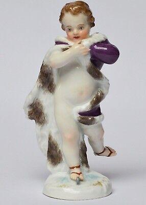 Meissen Porzellan Figur Putto Schlittschuhläufer Winter 19. Jh. Höhe 13 cm