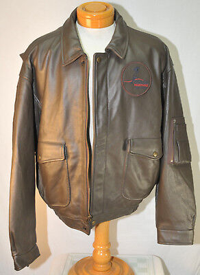 - MEN'S XL CESSNA CITATION MUSTANG Pebble Grain Leather FLIGHT JACKET Brown NICE