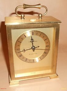Vintage-Brass-Hamilton-Quartz-Shelf-Mantle-Clock-Searle-6-x-4-Made-in-Germany