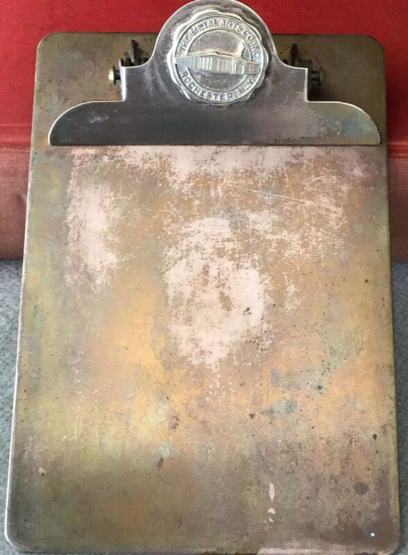 Vintage Very Scarce Metal Arts Company, Rochester, N.Y. Bronze Clipboard