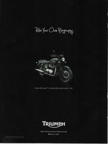 2012 Triumph Steve McQueen Limited Edition Bonneville T-100 Original Print Ad