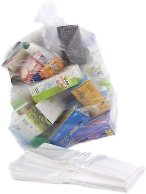 Abbey Recycling Bin Liners Clear Strong Refuse Sacks Rubbish Bag PACK OF 100
