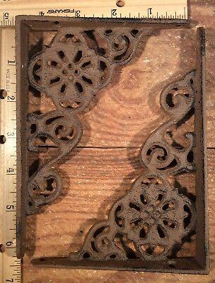 6 Shelf Brackets Cast Iron Rustic Antique Style 6-1/4x4-1/2