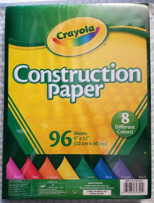 "Crayola Construction Paper Pad 9"" x 12""-96 Sheets Lot Of 4 NEW SEALED"